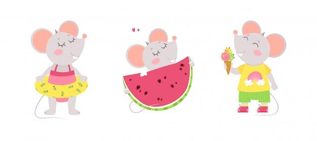 Три милые мышки едят мороженое, носят плавательный круг, едят арбуз. летние персонажи. Бесплатные векторы