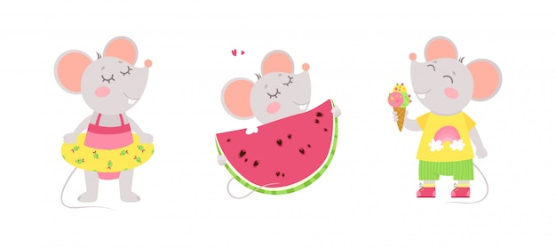 Three cute little mice eat ice cream, wears a swimming ring, eats a watermelon. summer characters. Free Vector