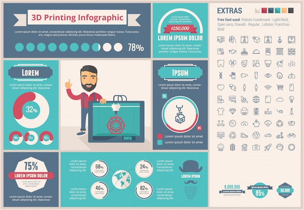 Three d printing flat design infographic template and icons set Premium Vector
