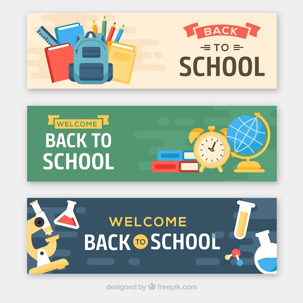 Three different flat back to school banners