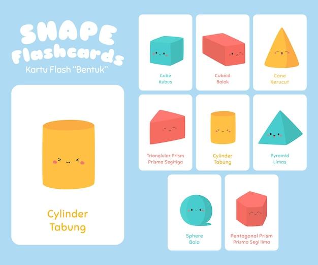 Three dimension shape flashcards for kids  set Premium Vector