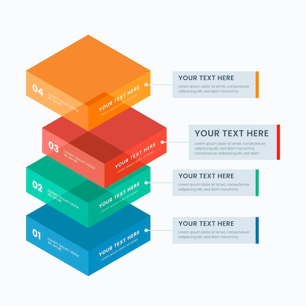 Three-dimensional block layers infographic Free Vector