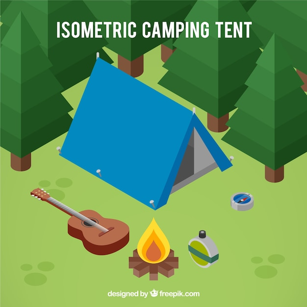 Three dimensional camping tent with aventure\ elements