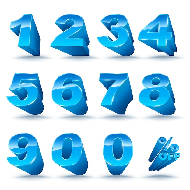 Three-dimensional number set 0-9 with percent off Premium Vector
