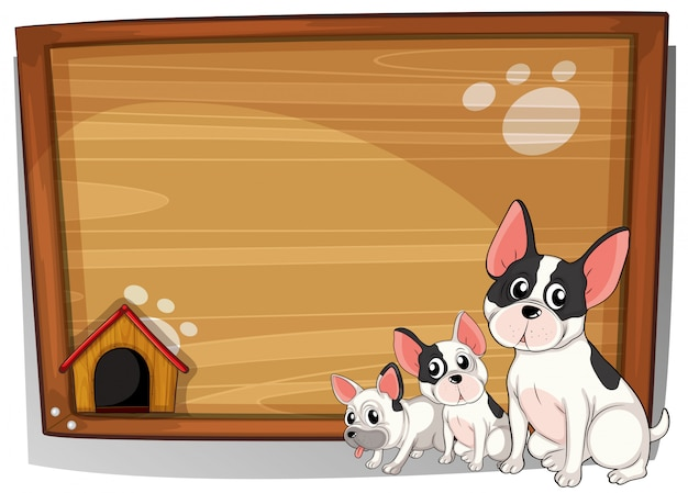 Three dogs in front of a wooden board Free Vector