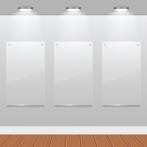 Three Empty Glass Frames On Wall With Halogen Lamps Vector Premium