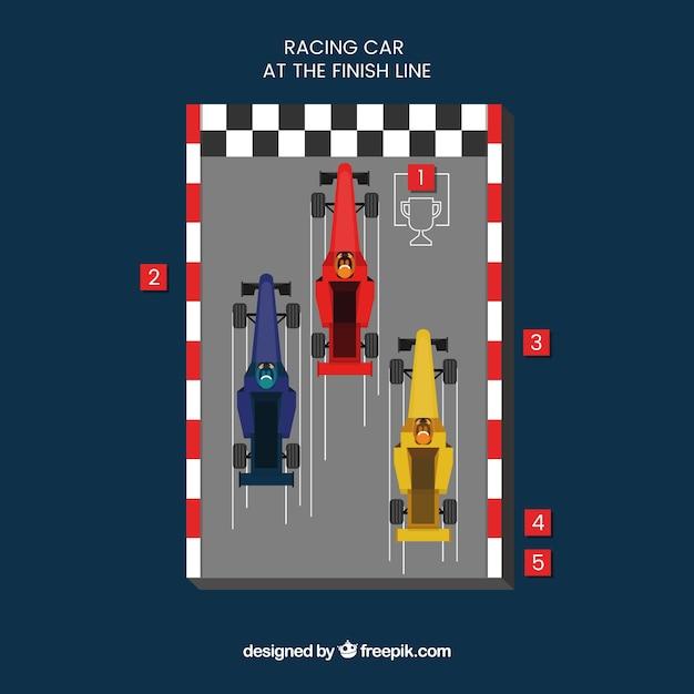 Three f1 racing cars crossing finish line Free Vector