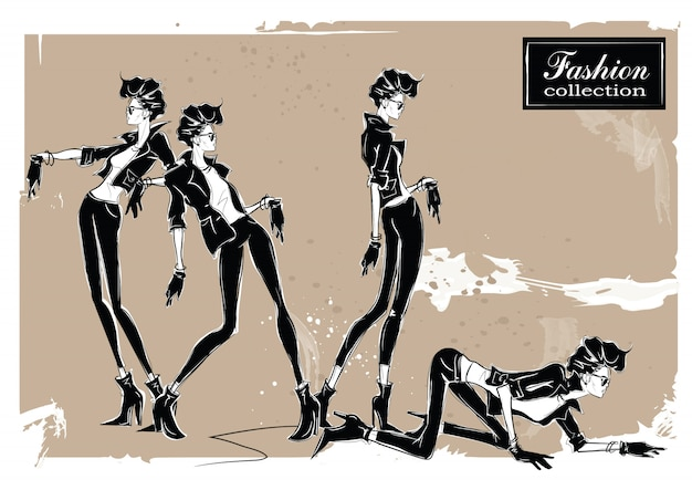 Three fashion women in sketch style. Premium Vector