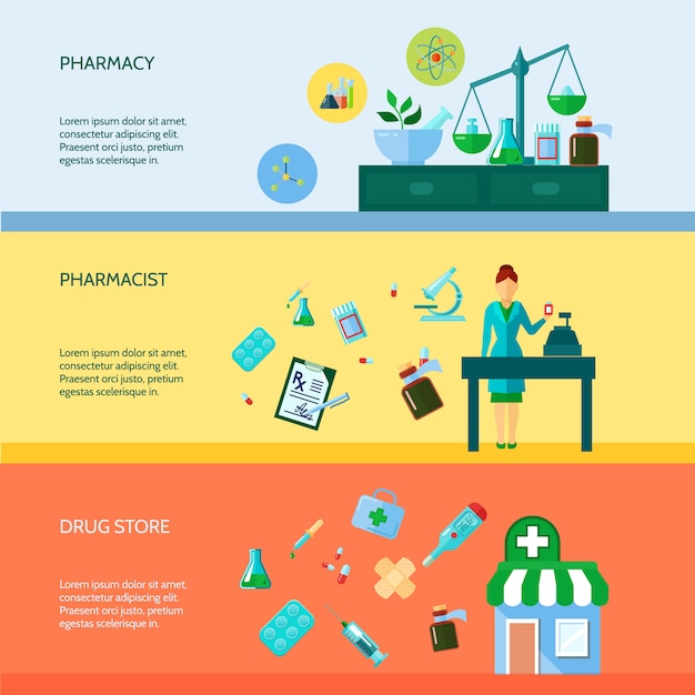 Three flat horizontal banner set with pharmaceutical attributes pharmacist Free Vector