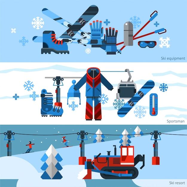Three Flat Horizontal Skiing Banners