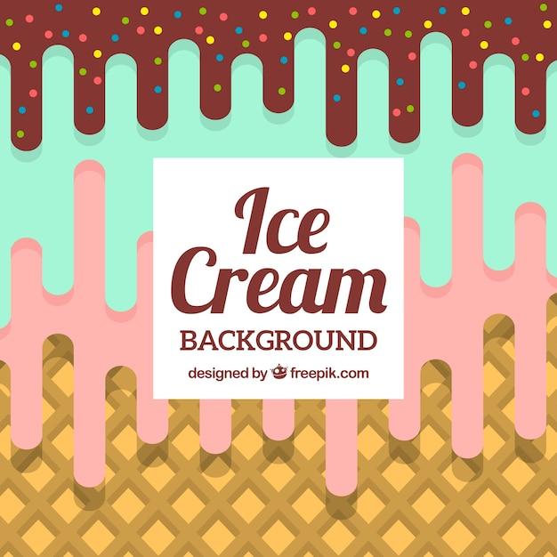 Three flavors ice cream background in flat design Free Vector