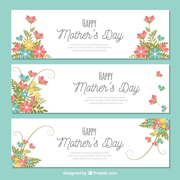 母の日のための3つの花のバナー 無料ベクター