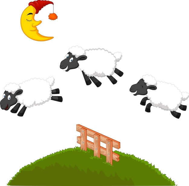 Three funny sheep jumping over a fence Premium Vector