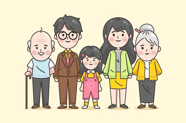 일본 가족의 3 대 무료 벡터