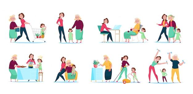쇼핑 청소 요리 일러스트와 함께 3 세대 여성 가족 일상 8 평면 구성 가로 세트 무료 벡터