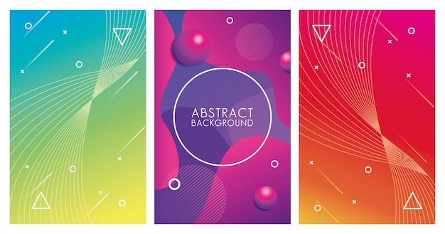 Три геометрических красочных абстрактных фона Premium векторы