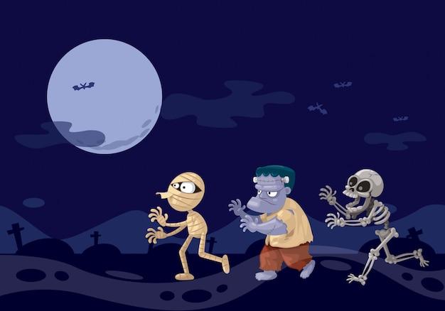 夜に3つの幽霊漫画。 Premiumベクター