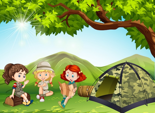 Three girls camping out in the field Free Vector