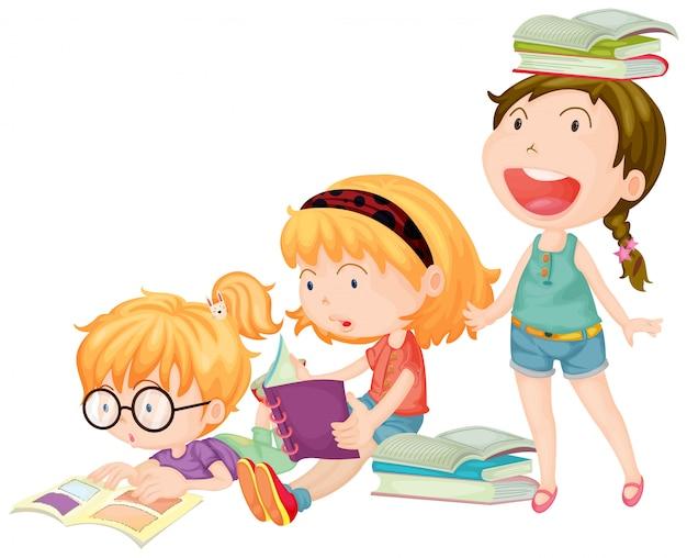 Three girls enjoy reading books Free Vector