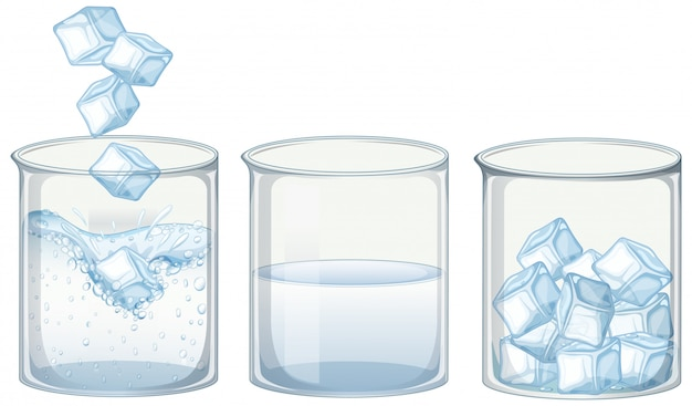 Three glasses of water with ice Premium Vector