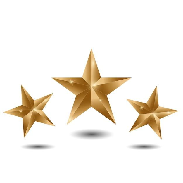 Three gold stars on white background Premium Vector