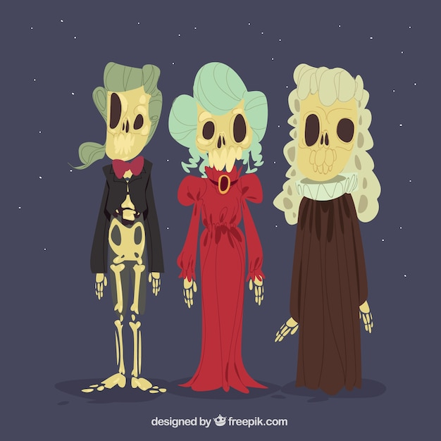 three halloween skulls free vector - Halloween Skulls Pictures