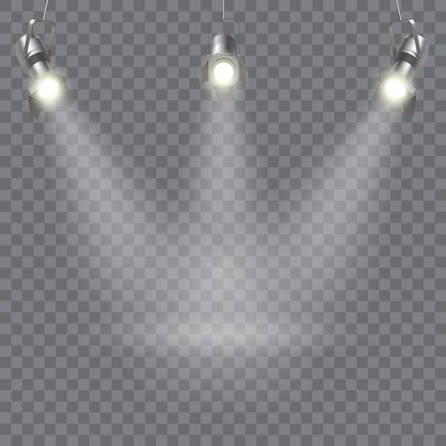 Три подвесных прожектора с направлением лучей в одной точке Бесплатные векторы