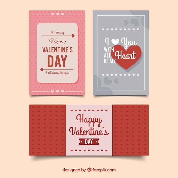 Three happy valentines day cards in retro design Vector – Valentines Day Cards to from