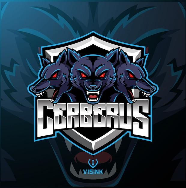 Three headed cerberus mascot logo Premium Vector