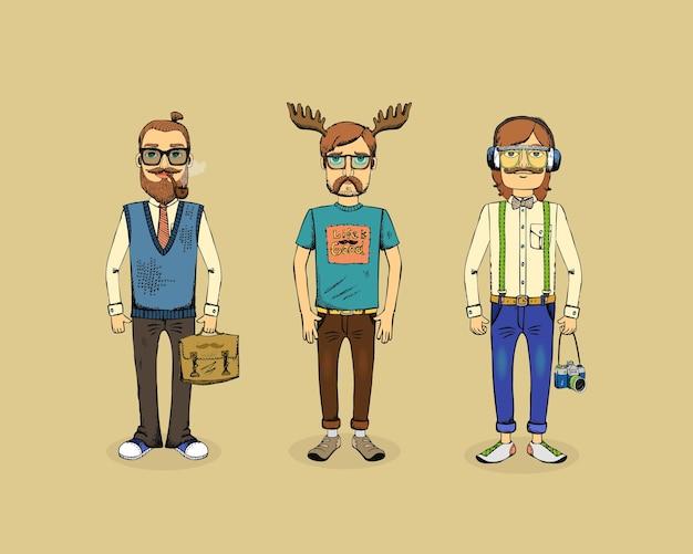 パイプ、ホーン、カメラを持つ3人の流行に敏感な男性 無料ベクター