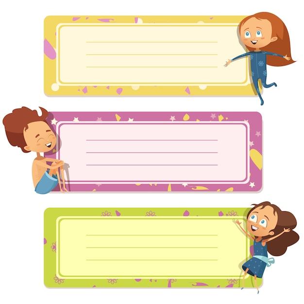 Tre banner orizzontali impostati per notebook bambino Vettore gratuito