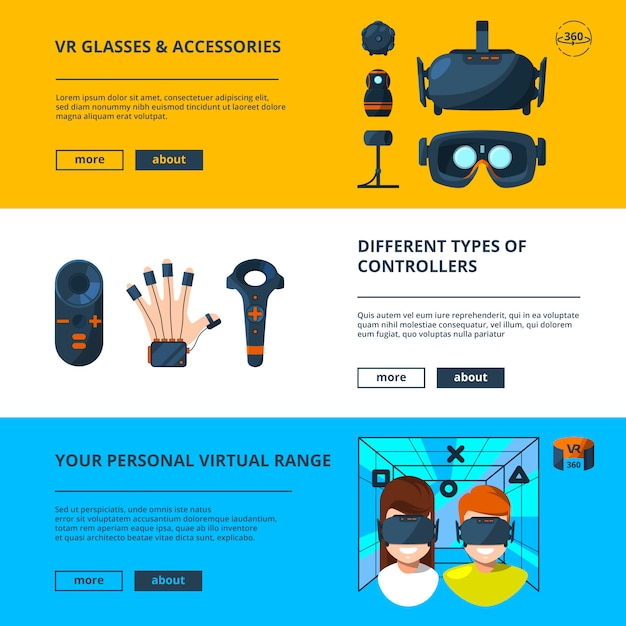 Three horizontal banners set with vector illustrations of virtual reality with future technology Premium Vector