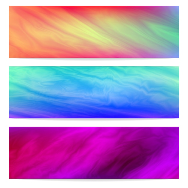 Three horizontal banners template with abstract fluid background. Premium Vector