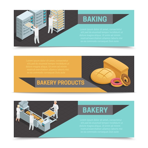 Three horizontal colored bakery factory isometric banner set Free Vector