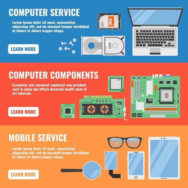 L'insegna orizzontale di tre servizi informatici ha messo con le descrizioni delle componenti del computer e dell'illustrazione di vettore di servizio mobile Vettore gratuito
