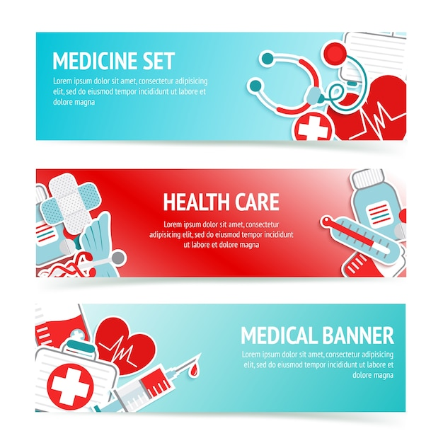 Three horizontal health care banners with medical emblems and emergency first aid kit symbols abstract vector illustration Free Vector