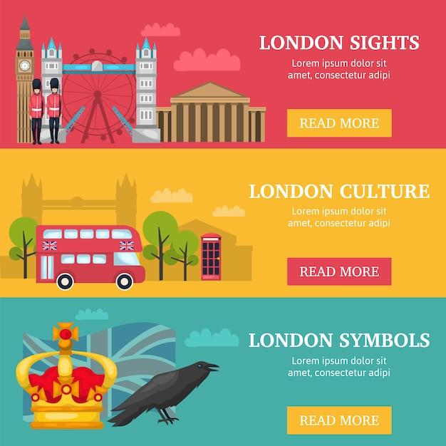 Три горизонтальных лондонских баннера с описаниями достопримечательностей и символов лондона Бесплатные векторы