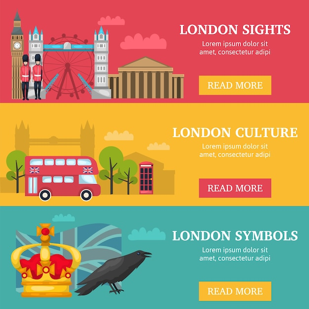 Three horizontal london banner set with london sights culture and symbols descriptions Free Vector