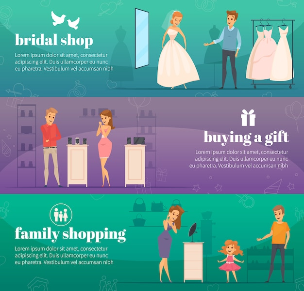 Three horizontal trying shop flat people banner set with bridal shop buying a gift and family shopping descriptions Free Vector