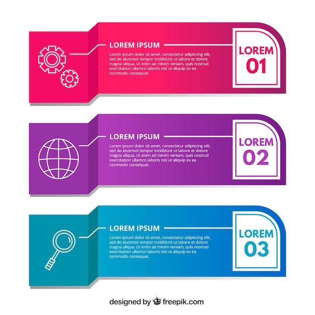 three infographic banners with different colors vector | free download