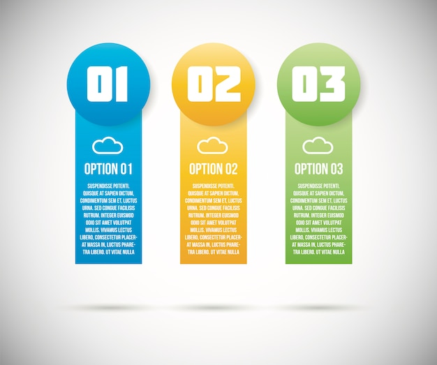 Three infographic option templates vector Premium Vector