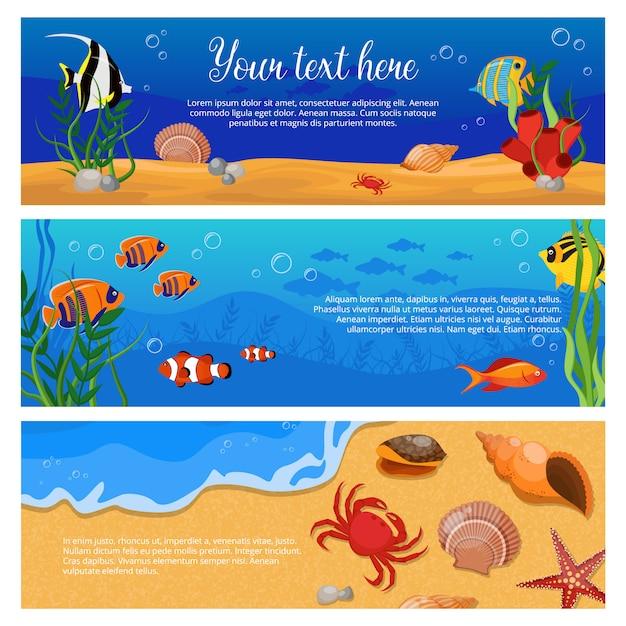 Tre insegne orizzontali isolate delle piante degli animali di vita di mare hanno messo con i granchi di pesce e lo spazio per testo Vettore gratuito