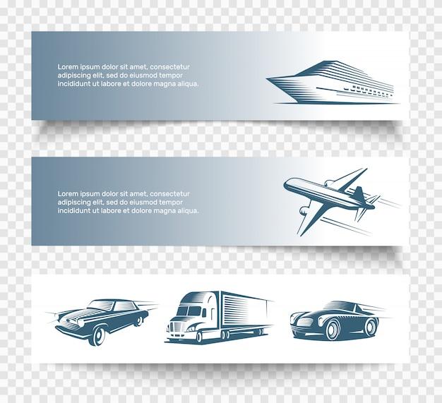 Набор трех изолированных транспортных баннеров Бесплатные векторы