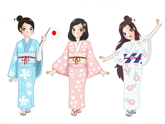 Three japanese girls wearing a japan women suit at a festival. Premium Vector