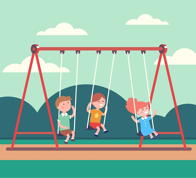 Three kids boys and girl swinging in public park Free Vector