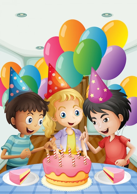Three kids celebrating a birthday Free Vector