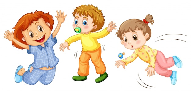 Three kids doing different activities illustration Free Vector