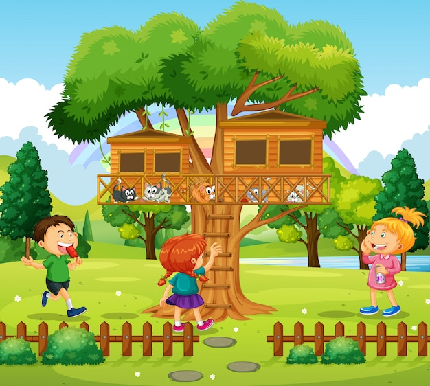 Three kids playing at the treehouse Free Vector