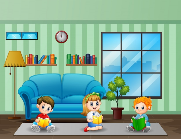Three kids reading book in a room illustration Premium Vector