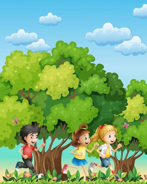 Three kids running outdoor Free Vector